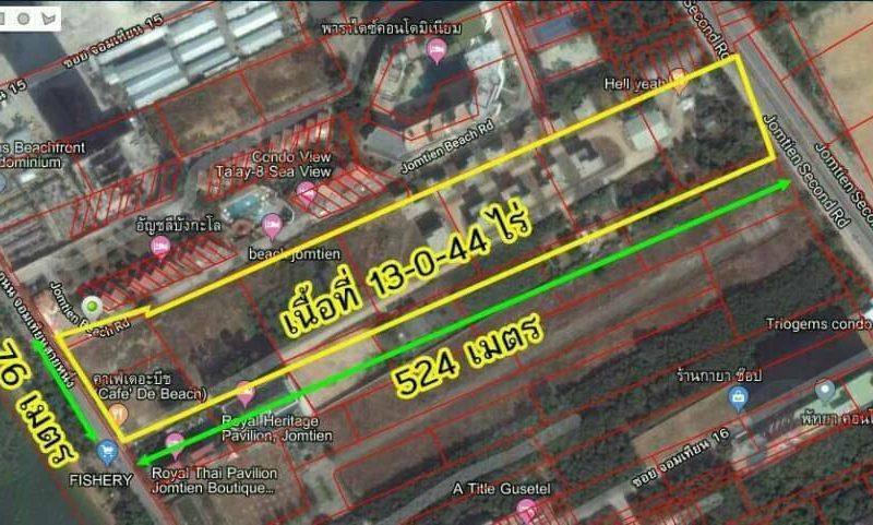 13 Rai 44Tarangwa Land Jomtien Beach на продажу